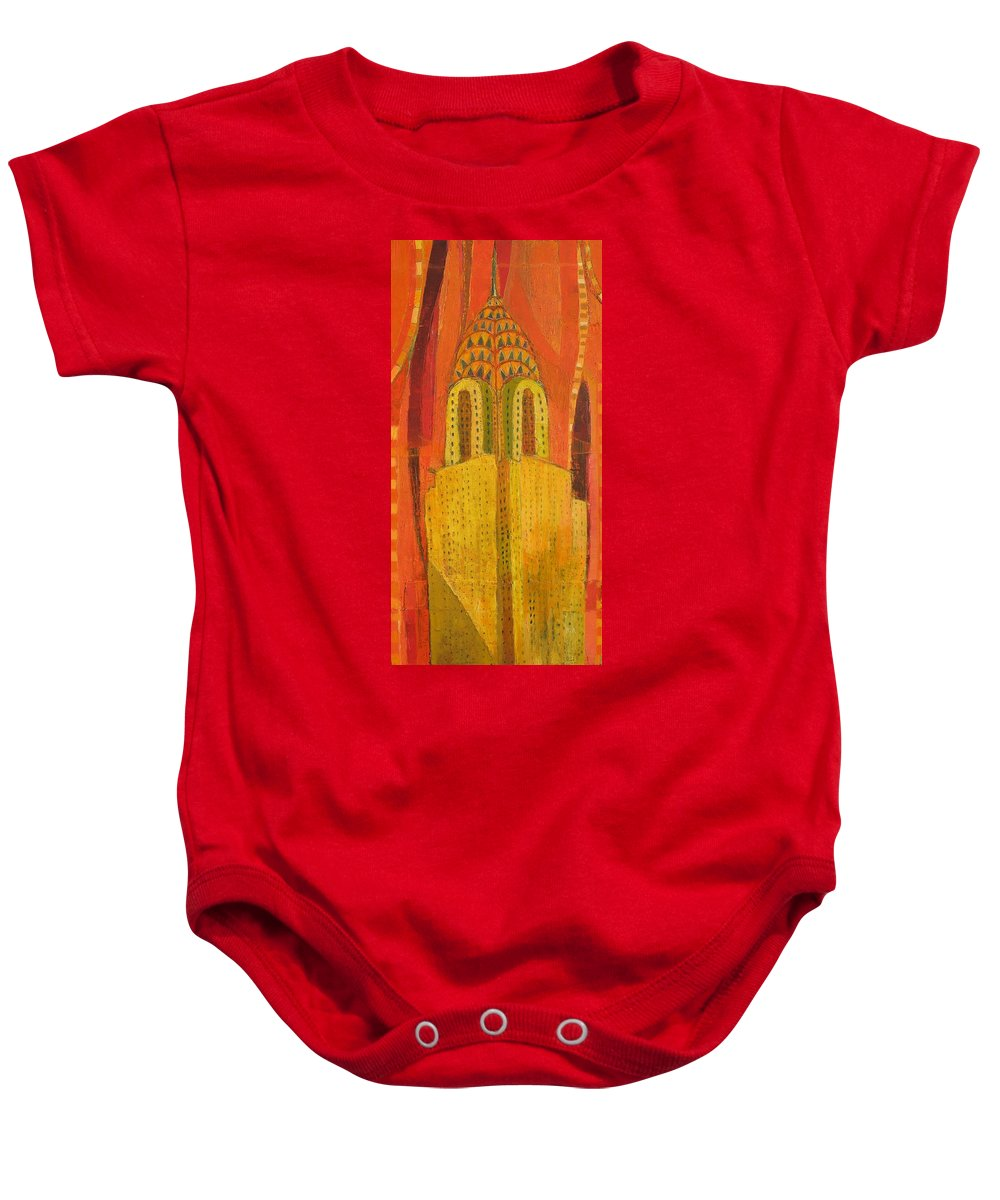 Abstract Cityscape Baby Onesie featuring the painting The Chrysler In Red by Habib Ayat