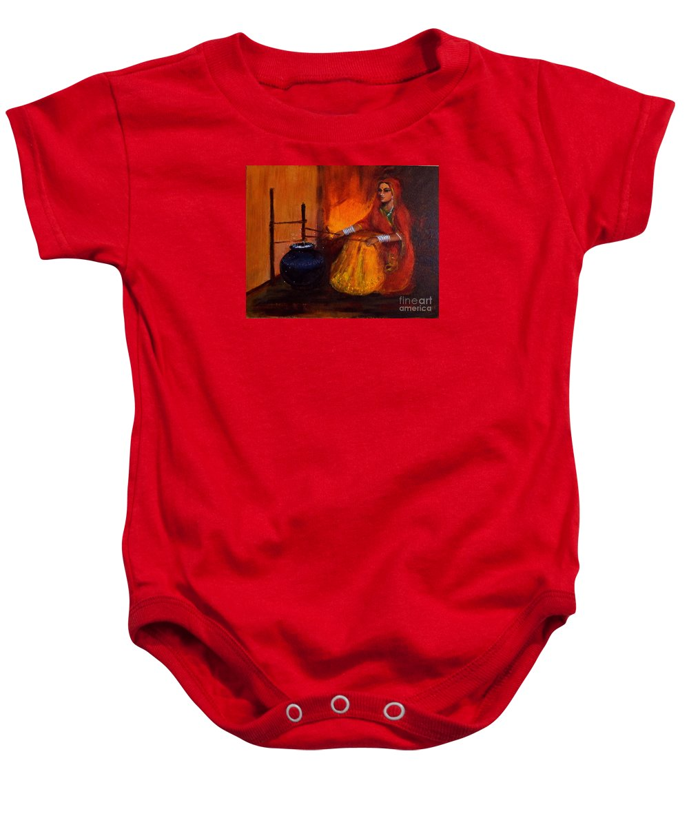 Dahi Baby Onesie featuring the painting The Churning by Asha Sudhaker Shenoy