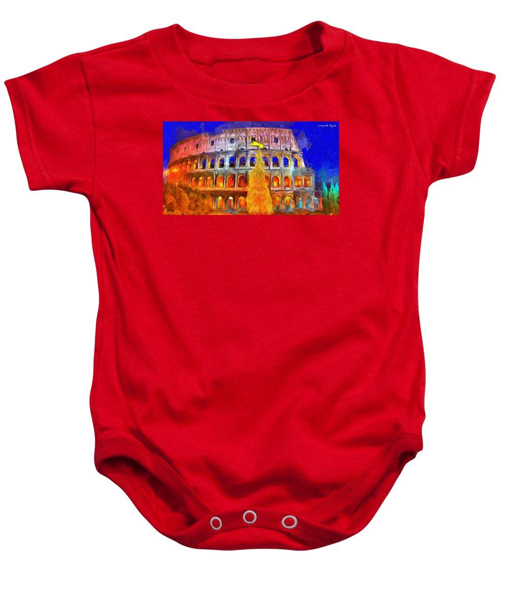 Coliseum Baby Onesie featuring the digital art The Colosseum And Christmas - Van Gogh Style - - Da by Leonardo Digenio