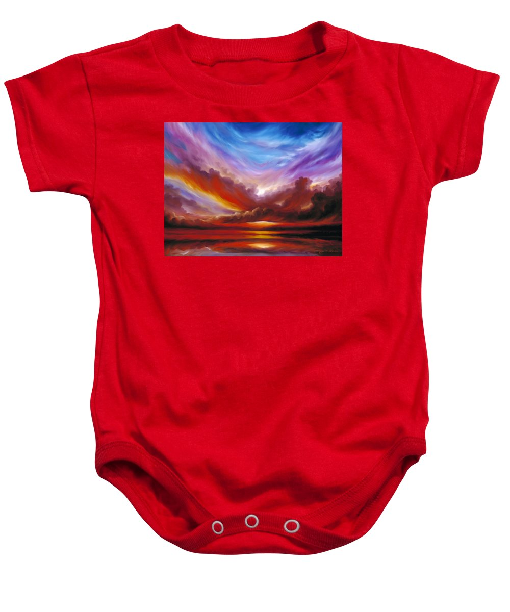 Skyscape Baby Onesie featuring the painting The Cosmic Storm II by James Christopher Hill