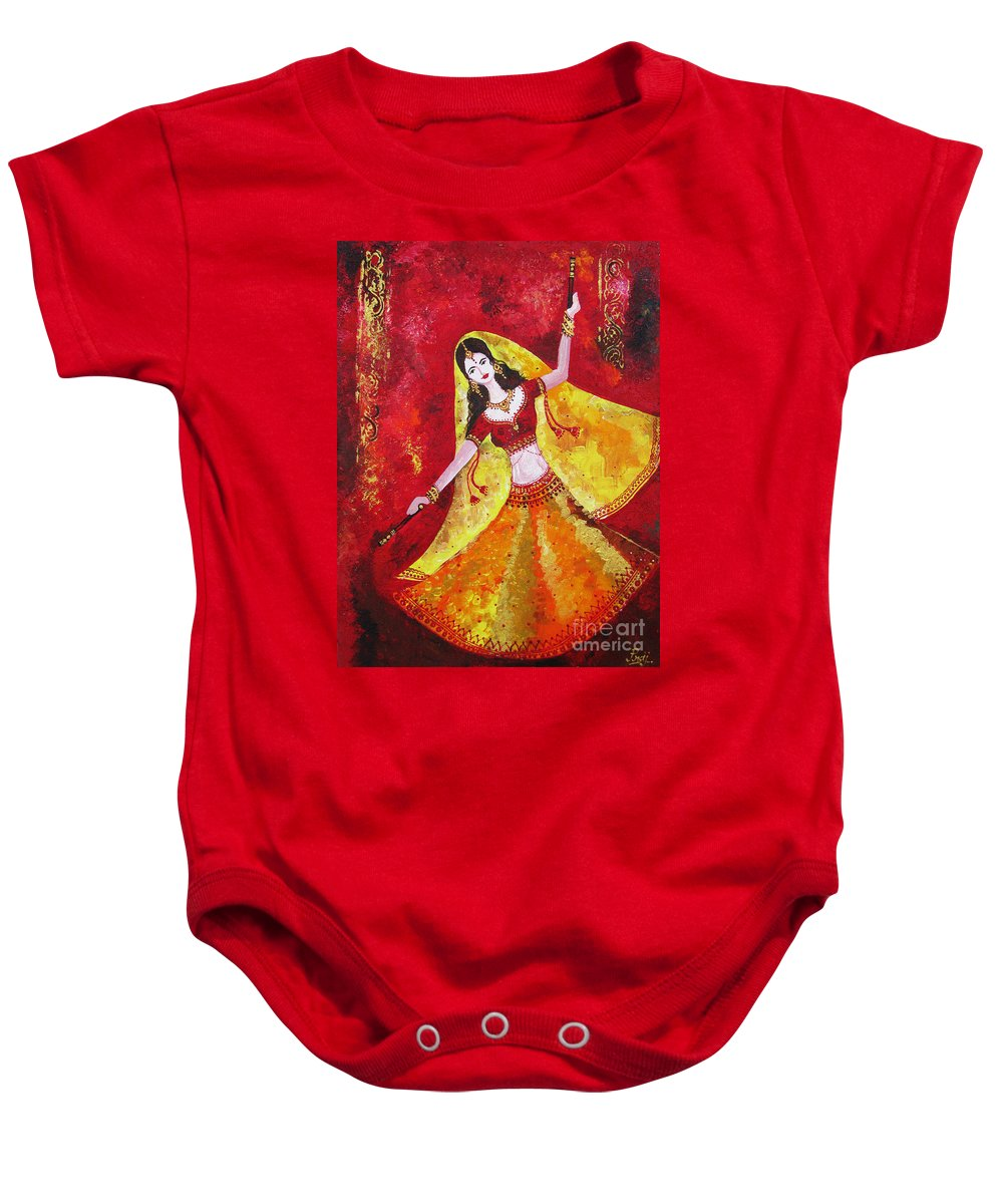 Dancer Baby Onesie featuring the painting The Dancer by Prajakta P