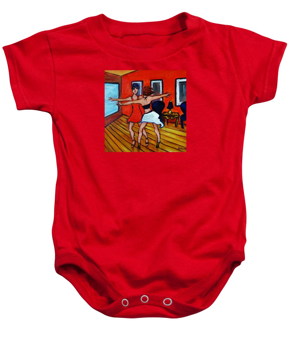 Dancers Baby Onesie featuring the painting The Dancers by Valerie Vescovi