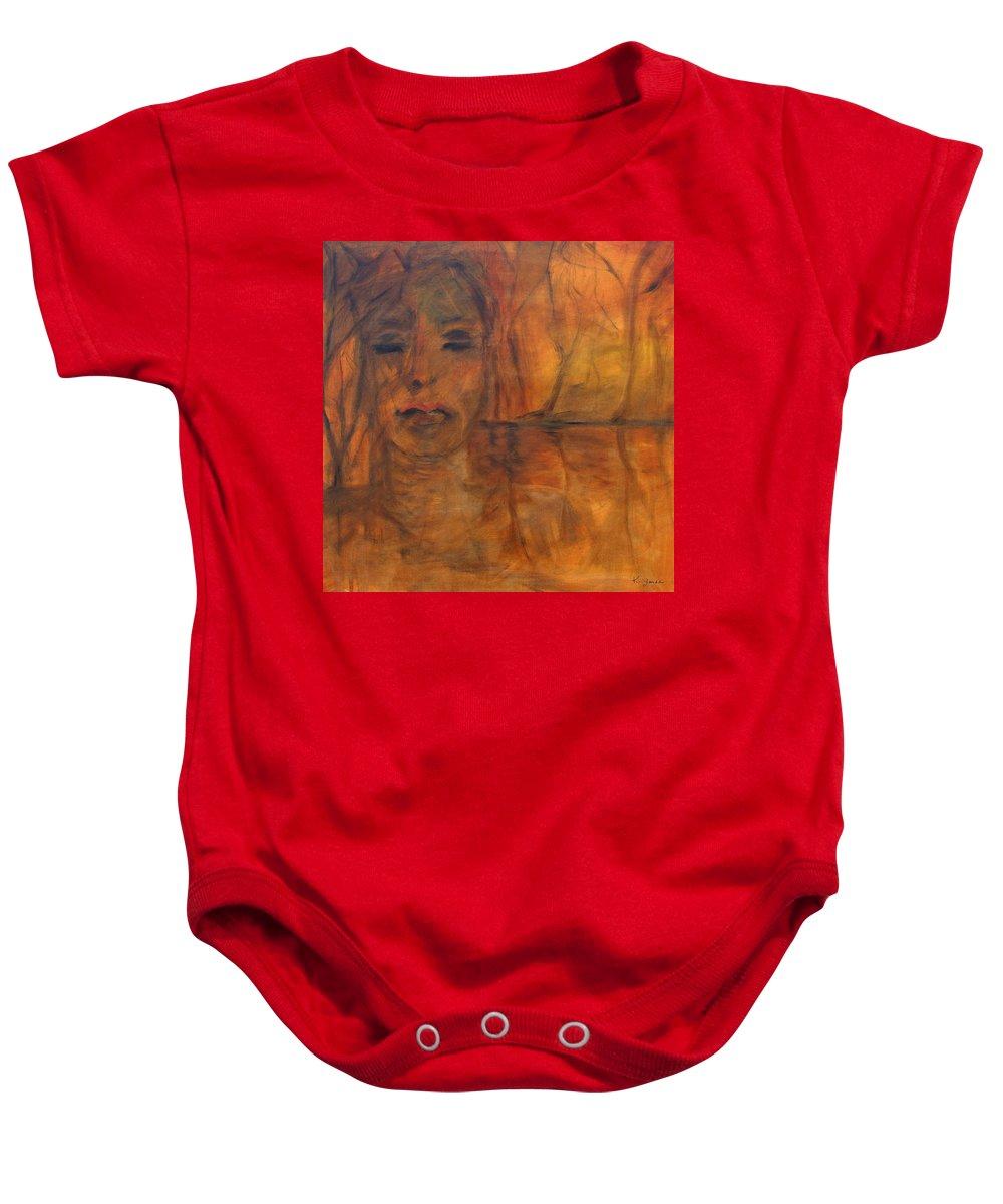 Katt Yanda Original Art Portrait Oil Painting Canvas Woman Face Amber Burnt Orange Dream Dreaming Red Lips Eyes Closed Baby Onesie featuring the painting The Dream by Katt Yanda