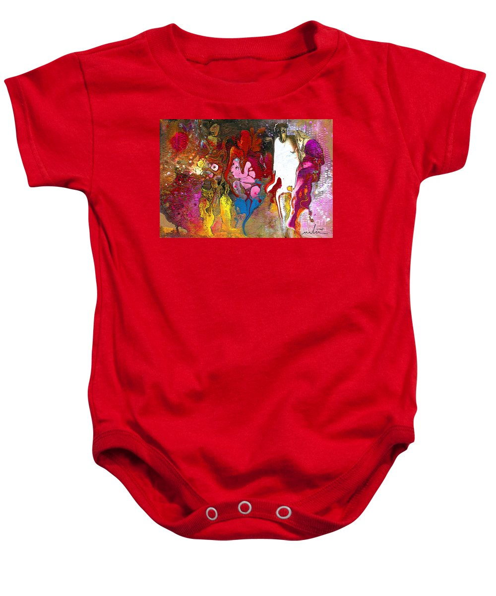 Miki Baby Onesie featuring the painting The First Wedding by Miki De Goodaboom