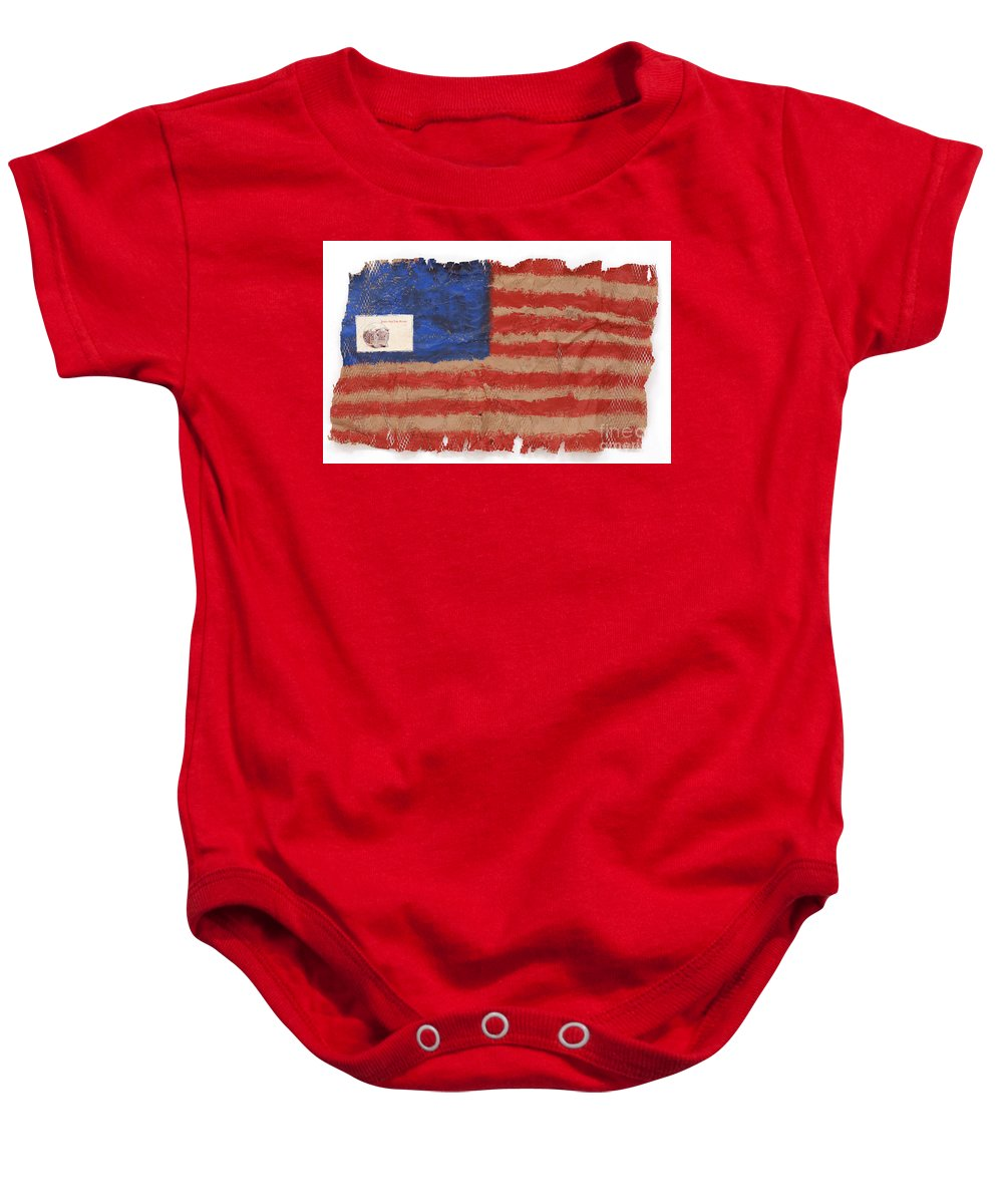 Flag Baby Onesie featuring the mixed media The Flag by Jaime Becker