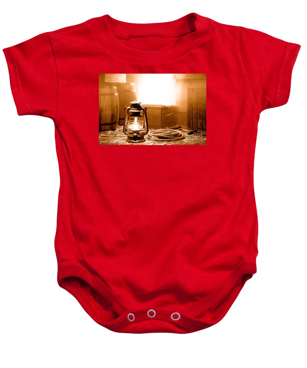 Old Baby Onesie featuring the photograph The General Store Backroom - Sepia by Olivier Le Queinec