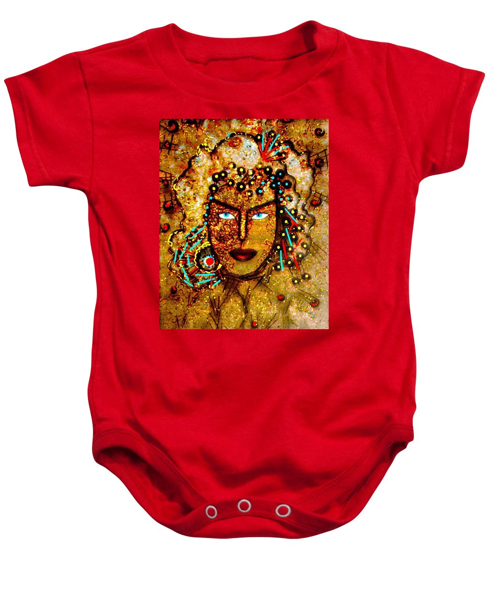 Goddess Baby Onesie featuring the painting The Golden Goddess by Natalie Holland