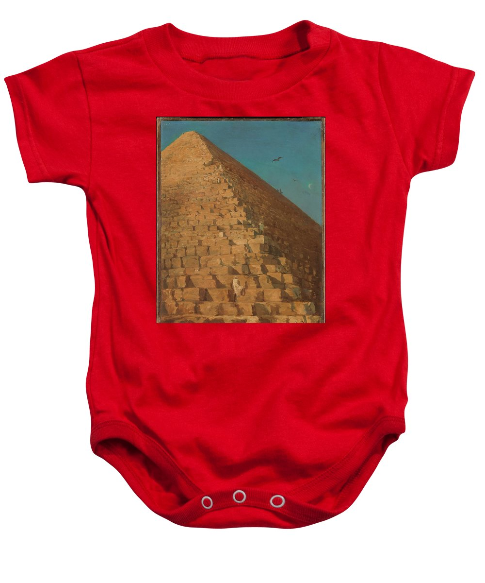 The Great Pyramid Baby Onesie featuring the painting The Great Pyramid by Eastern Accent