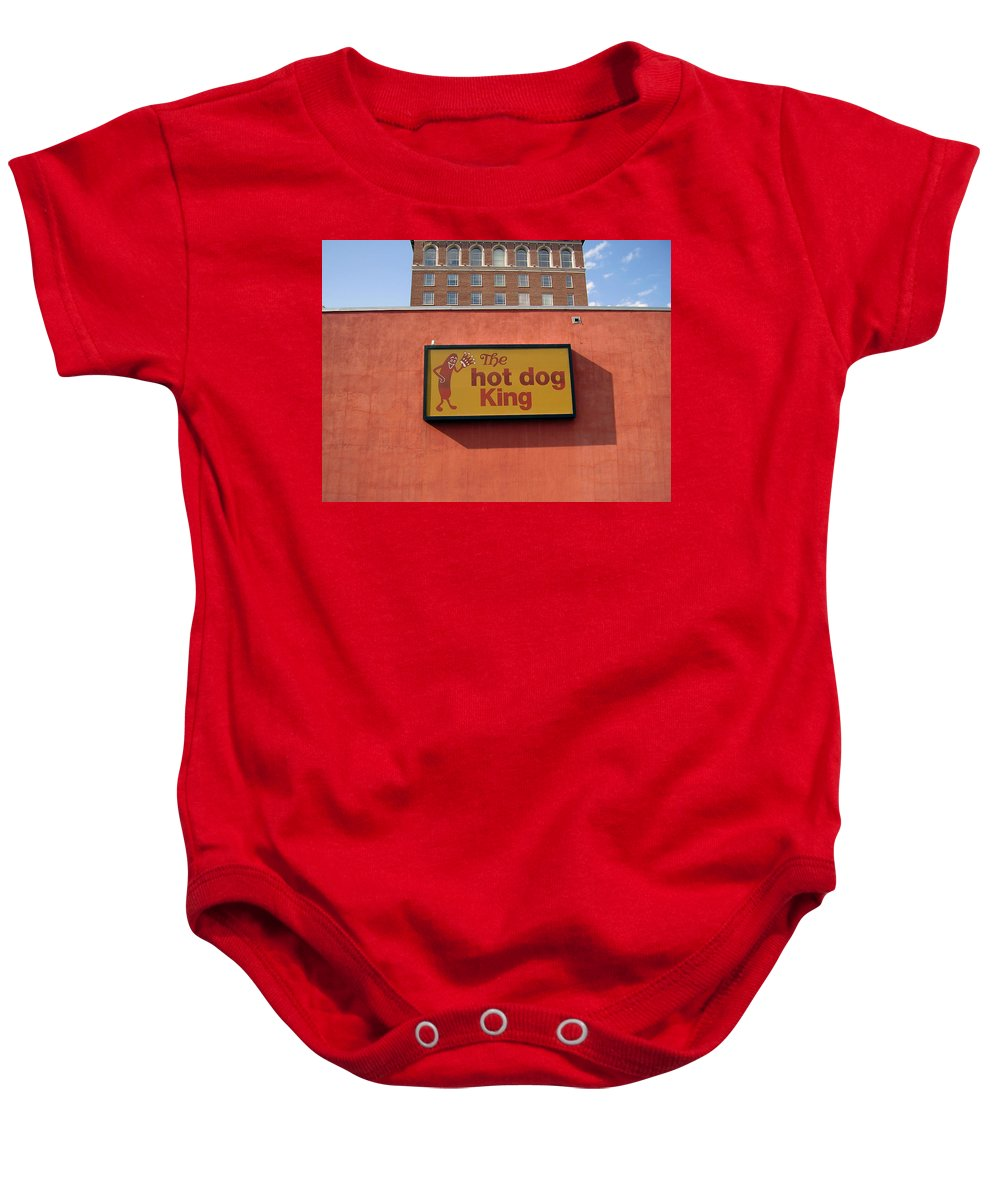 Hot Dog King Baby Onesie featuring the photograph The Hot Dog King by Flavia Westerwelle