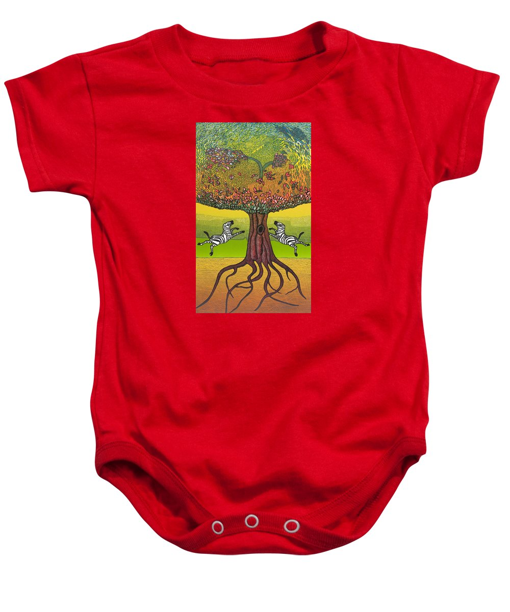 Landscape Baby Onesie featuring the mixed media The Life-giving Tree. by Jarle Rosseland
