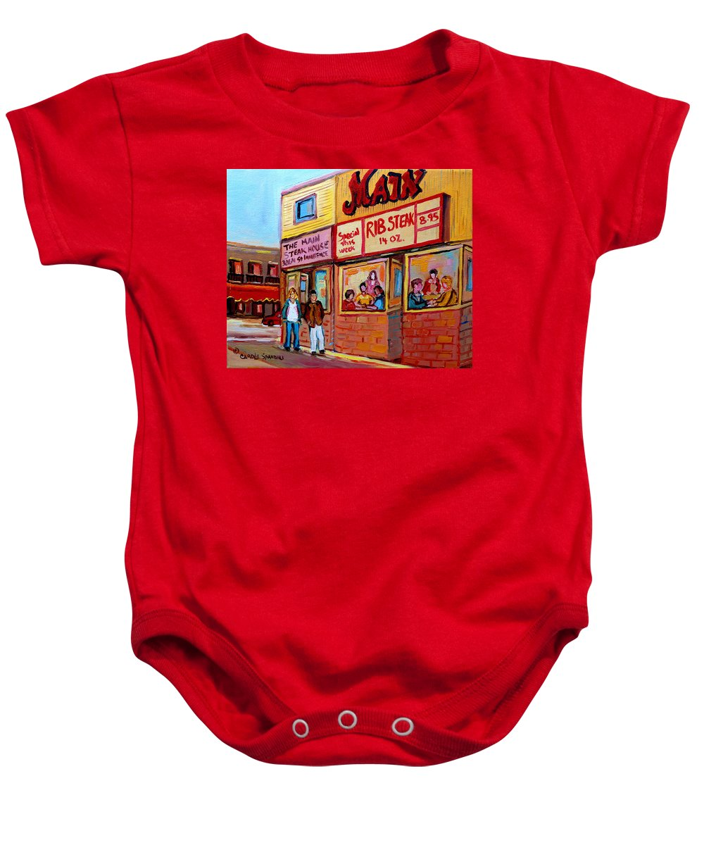 The Main Steakhouse Baby Onesie featuring the painting The Main Steakhouse On St. Lawrence by Carole Spandau