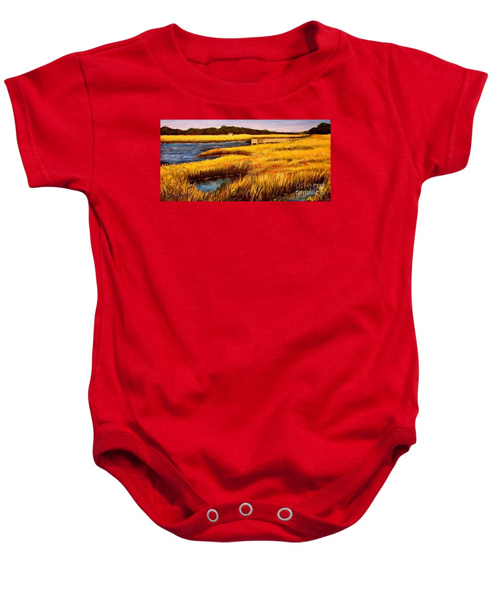 Beaches Baby Onesie featuring the painting The Marsh At Cherry Grove Myrtle Beach South Carolina by Patricia L Davidson