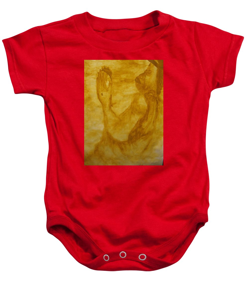 Gloria Ssali Baby Onesie featuring the painting The Potter by Gloria Ssali