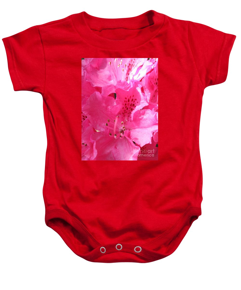 Rhododendron Baby Onesie featuring the photograph The Power Of Pink by Carol Groenen