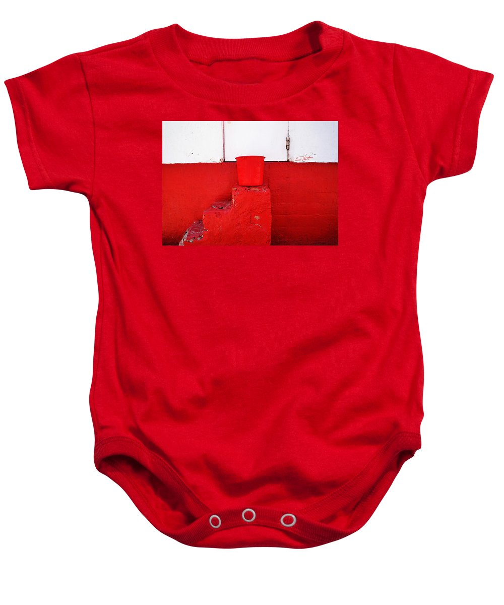 Red Baby Onesie featuring the photograph The Red Bucket by Charles Stuart