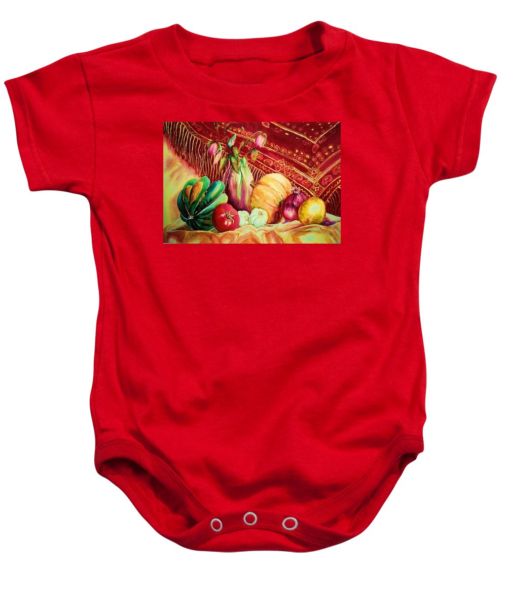 Reds Baby Onesie featuring the painting The Red Shawl by Carole Spandau