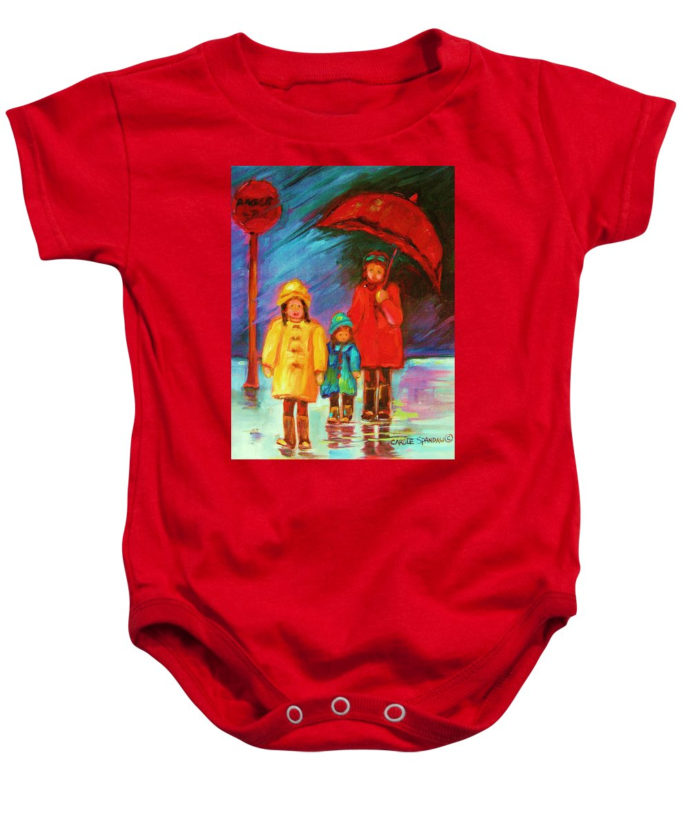 Rainy Day Baby Onesie featuring the painting The Red Umbrella by Carole Spandau