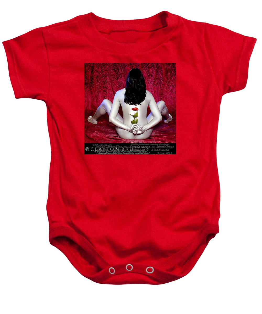 Clay Baby Onesie featuring the photograph The Rose by Clayton Bruster