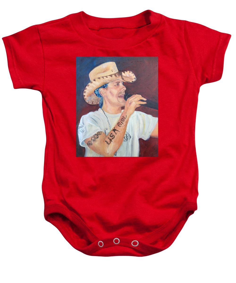 Up And Coming Country Singer Rowdy Mc Caran. Cowboy Baby Onesie featuring the painting The Rowdy One by Charme Curtin