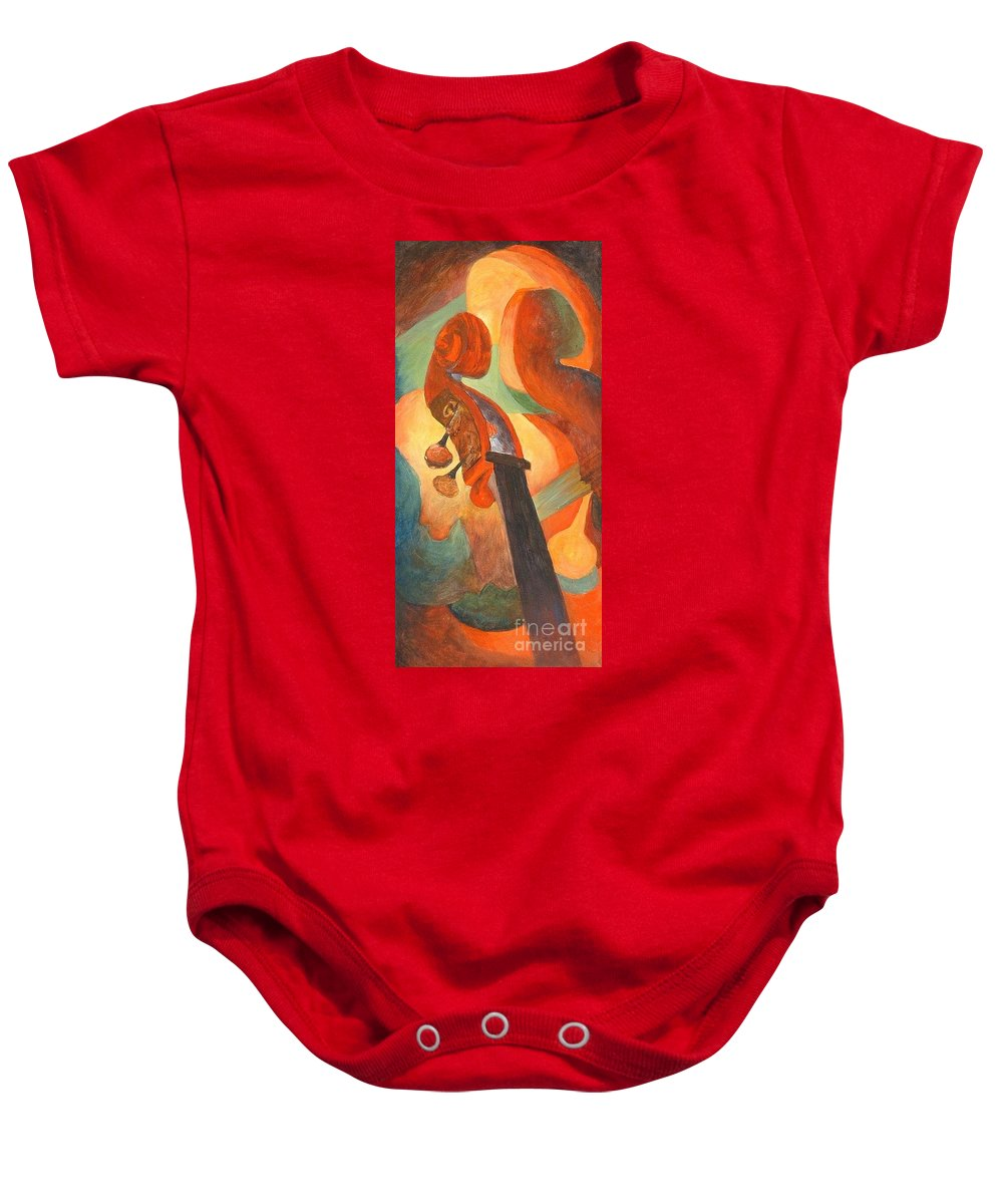 Scroll Baby Onesie featuring the painting The Scroll by Claire Gagnon