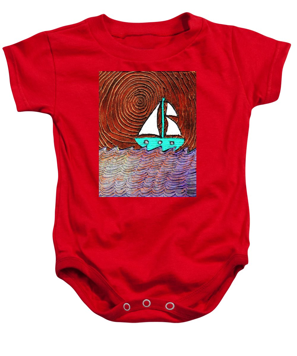 Sailing Baby Onesie featuring the painting The Sky Was Bronze That Night by Wayne Potrafka