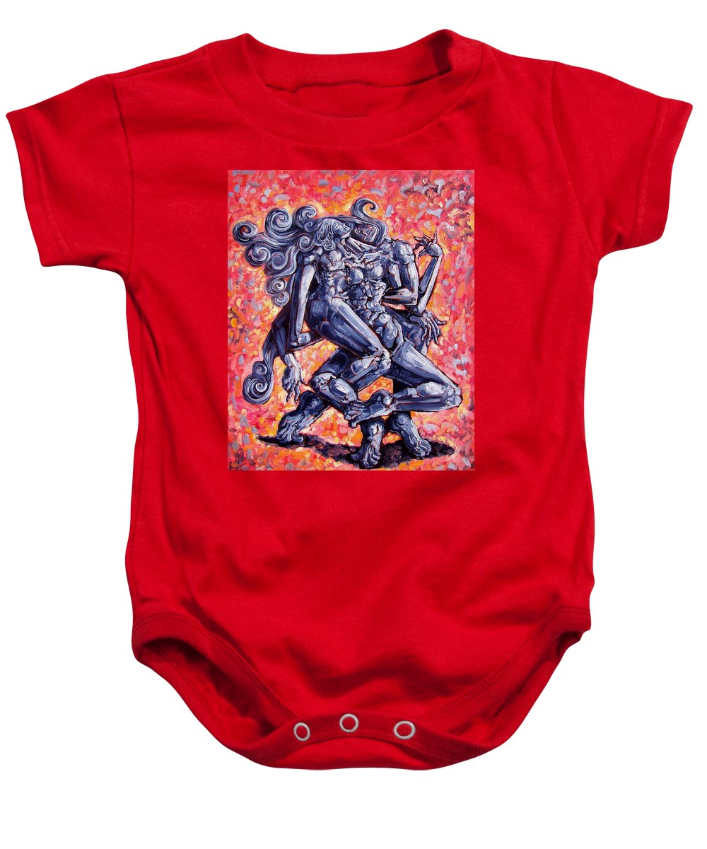Surrealism Baby Onesie featuring the painting The Strangers by Darwin Leon