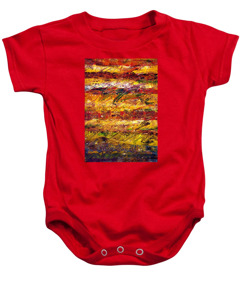 Abstract Baby Onesie featuring the painting The Sun Rose One Step At A Time by Wayne Potrafka