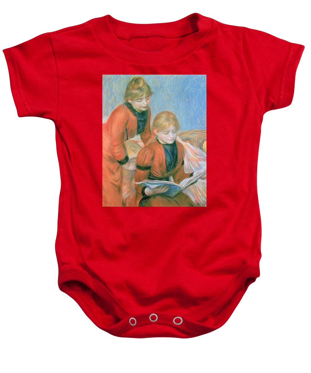 The Baby Onesie featuring the pastel The Two Sisters by Pierre Auguste Renoir