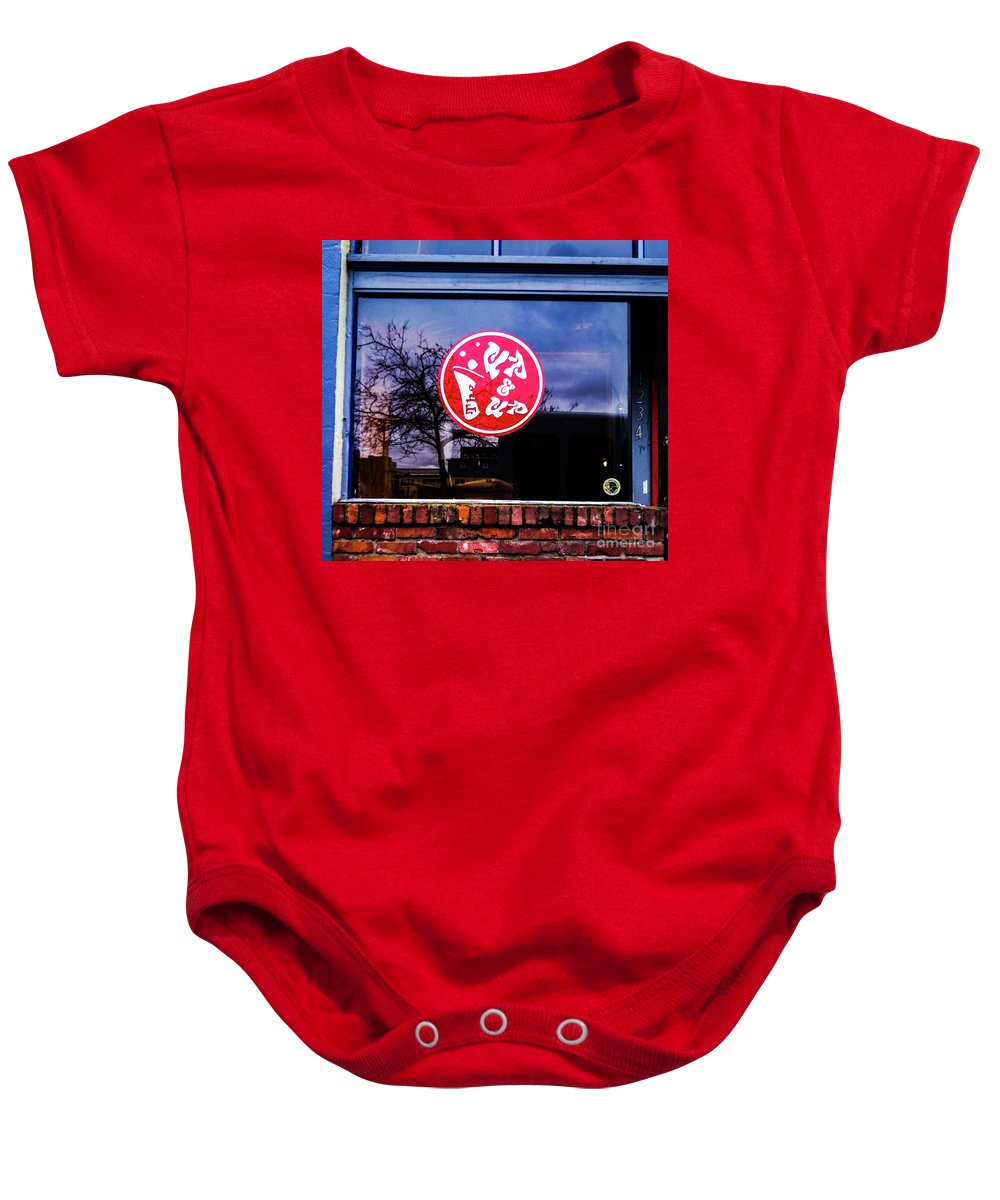 Signs Blue Red Street Sign Baby Onesie featuring the photograph The Up And Up by Loretta Bueno