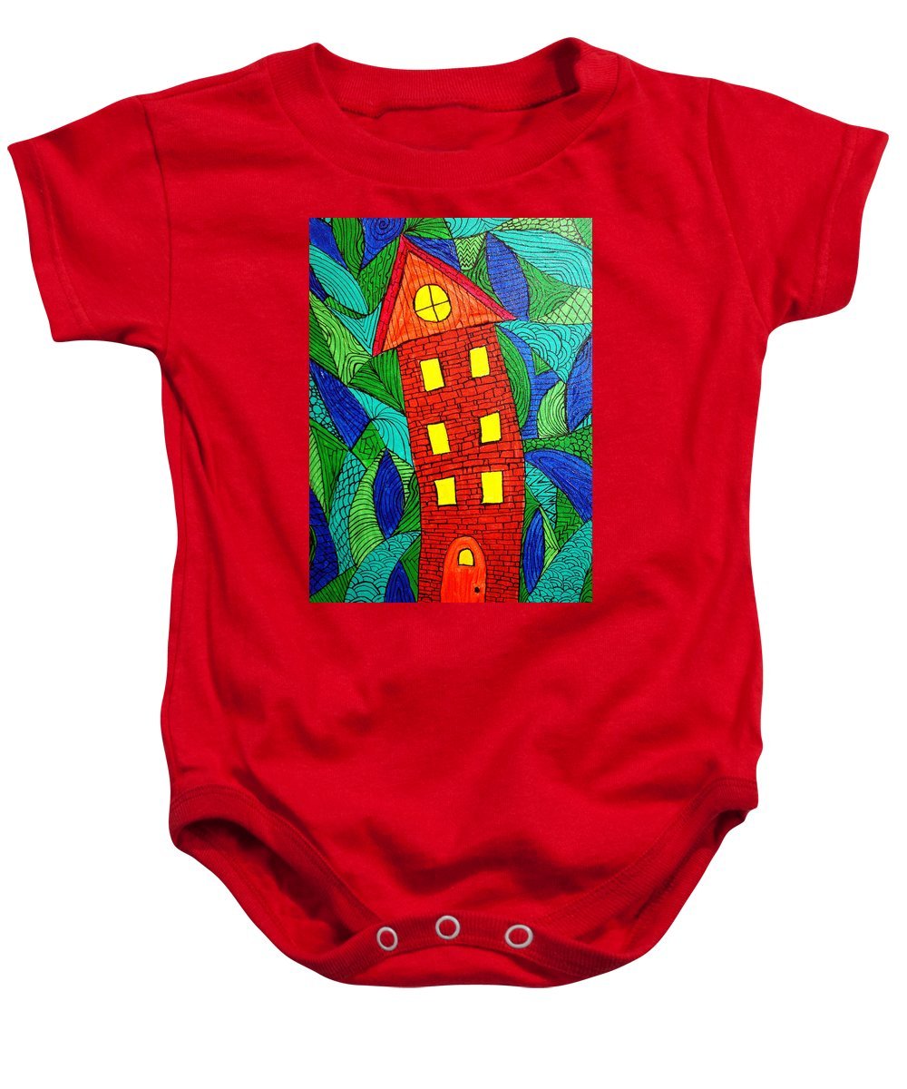 Geometric Patterns Baby Onesie featuring the painting There Was A Crooked House by Wayne Potrafka