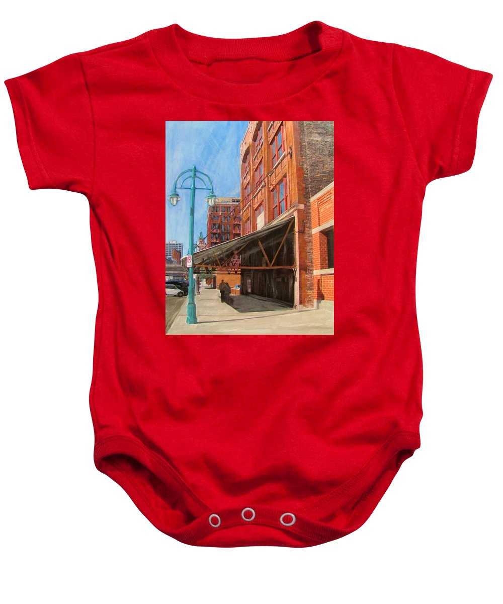 Milwaukee Baby Onesie featuring the mixed media Third Ward - Broadway Awning by Anita Burgermeister