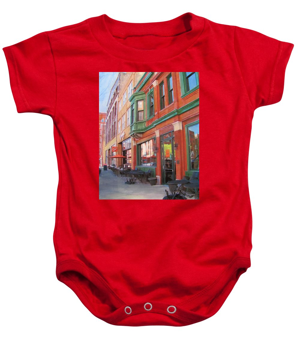 Milwaukee Baby Onesie featuring the mixed media Third Ward - Swig And Palm by Anita Burgermeister