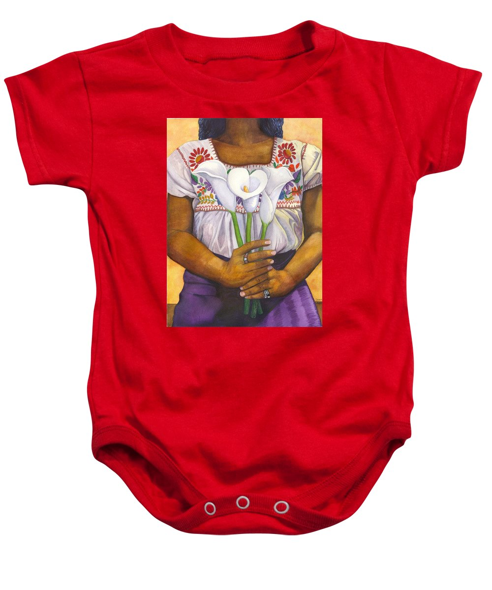 Lily Baby Onesie featuring the painting Three Calla Lilies by Catherine G McElroy