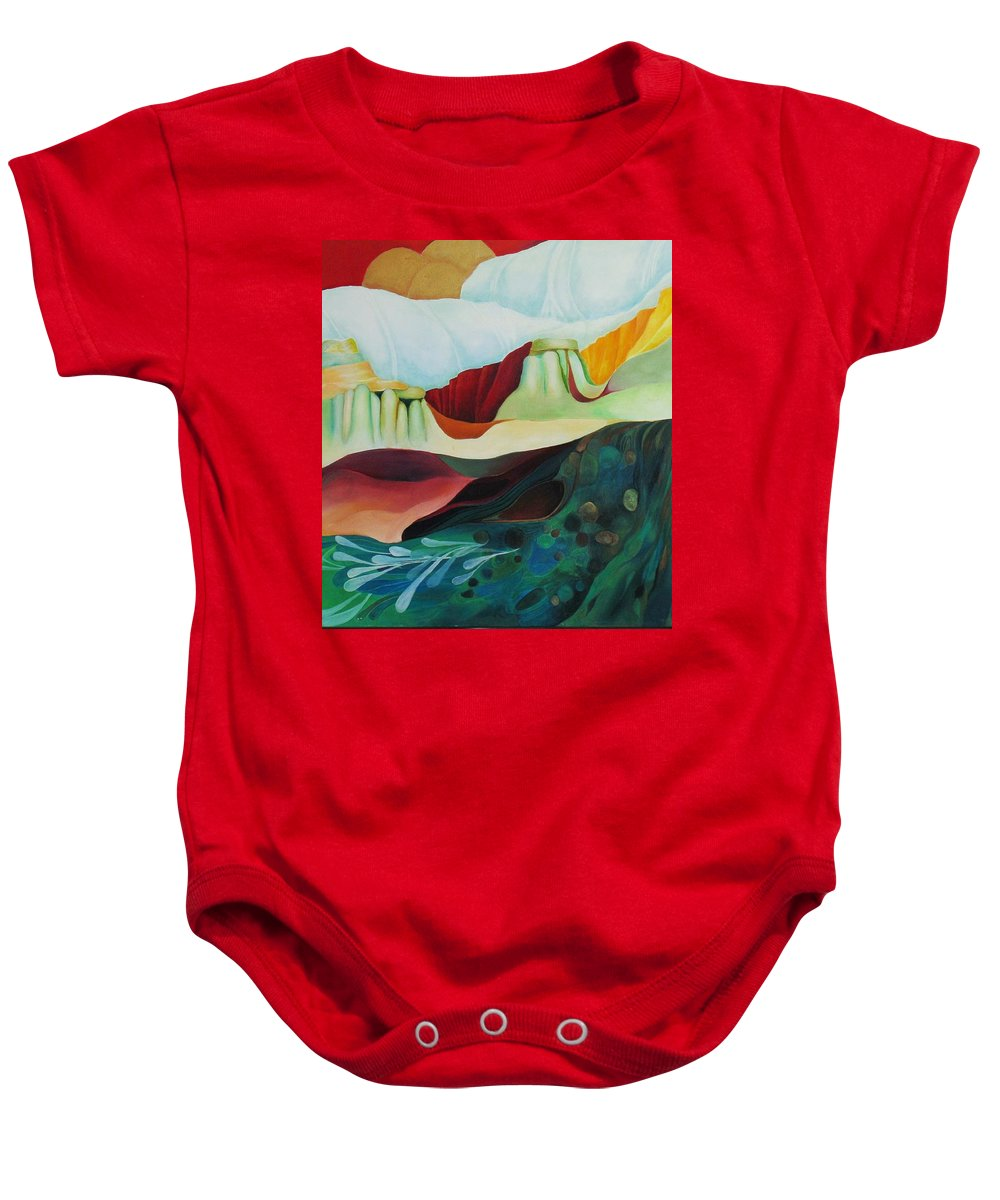 Landscape Baby Onesie featuring the painting Three Moons by Peggy Guichu