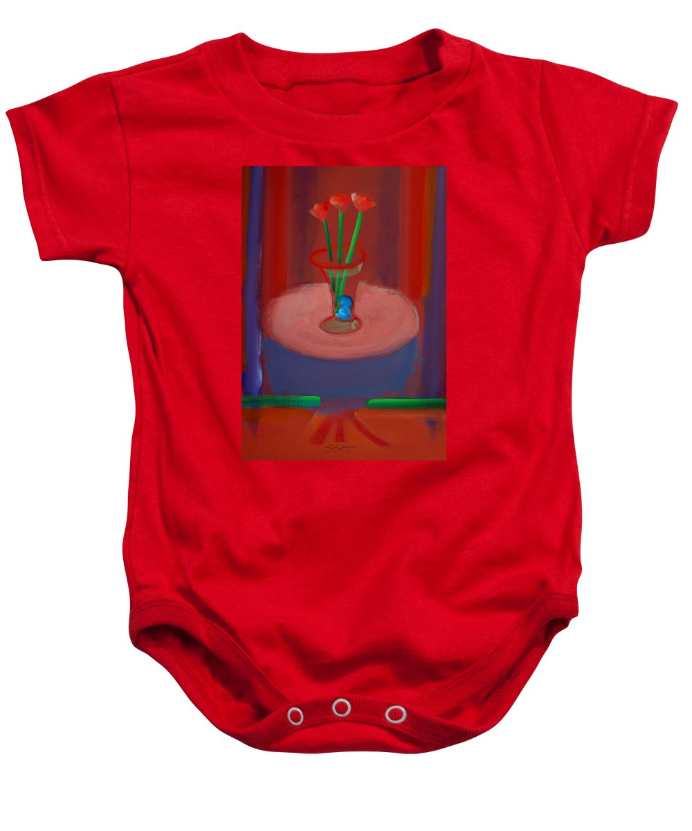 Poppies Baby Onesie featuring the painting Three Poppies In A Vase by Charles Stuart