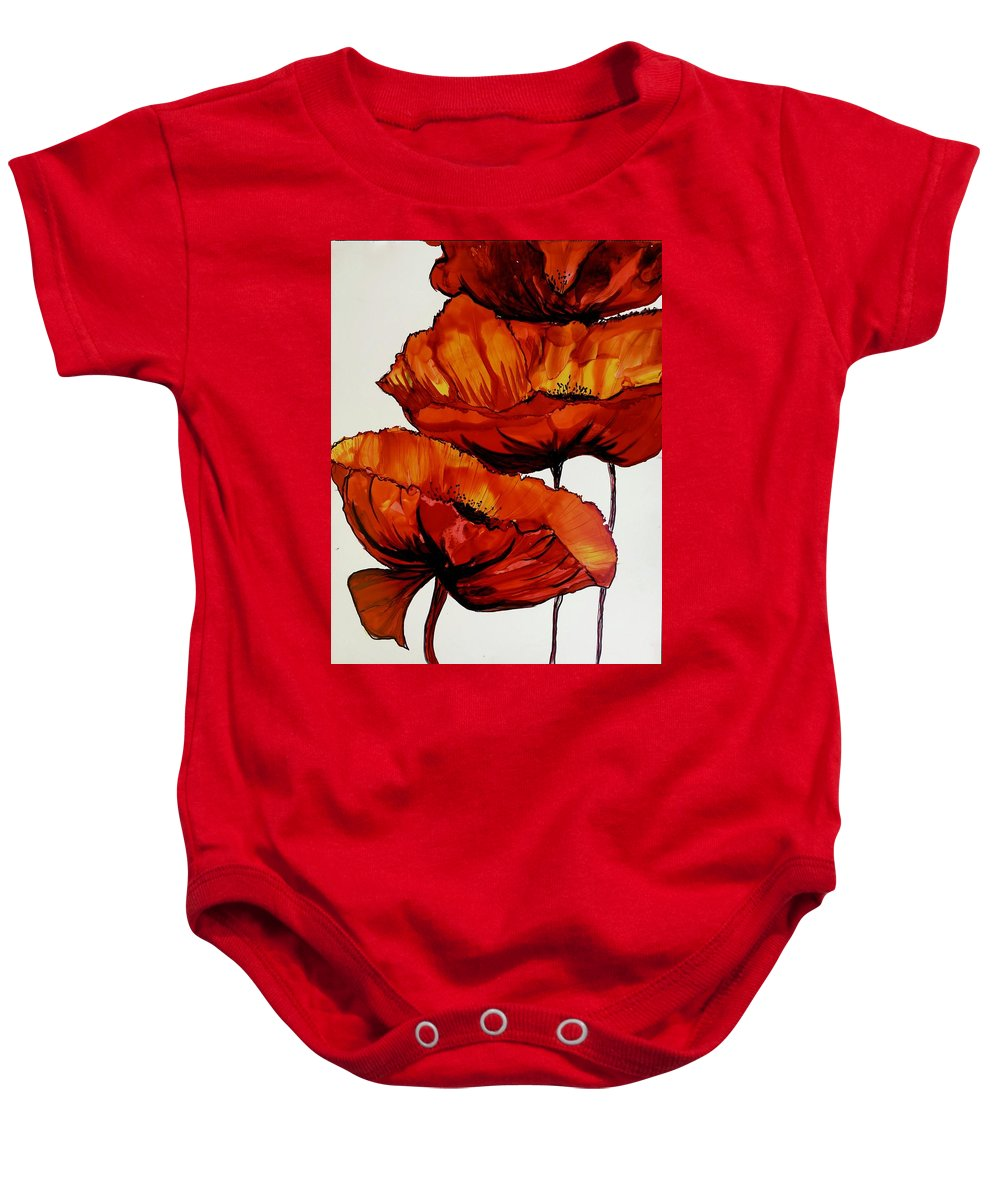 Poppies Alcohol Ink Painting Baby Onesie featuring the painting Three Red Poppies by Karen Chatham