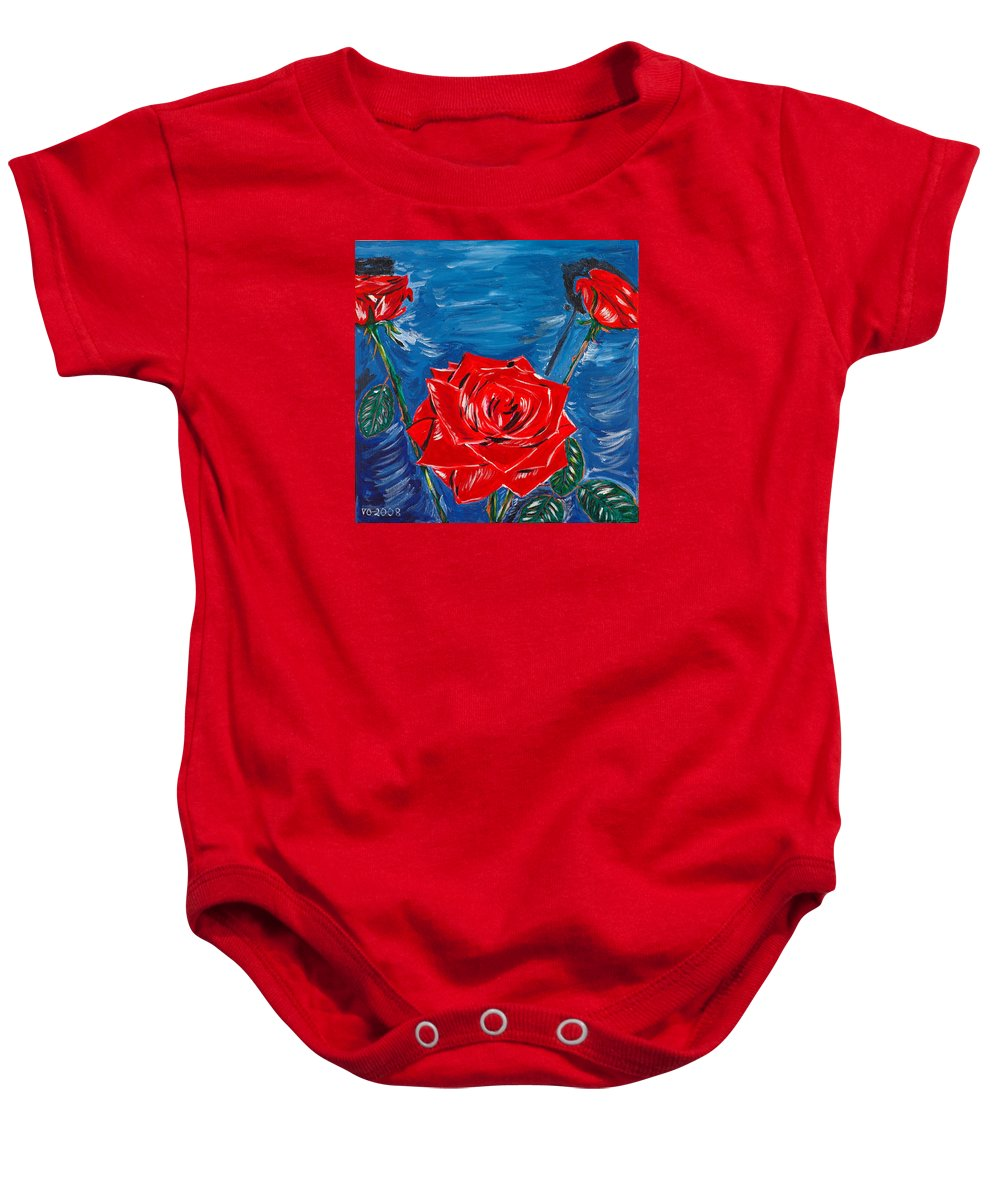 Rose Baby Onesie featuring the painting Three Red Roses Four Leaves by Valerie Ornstein