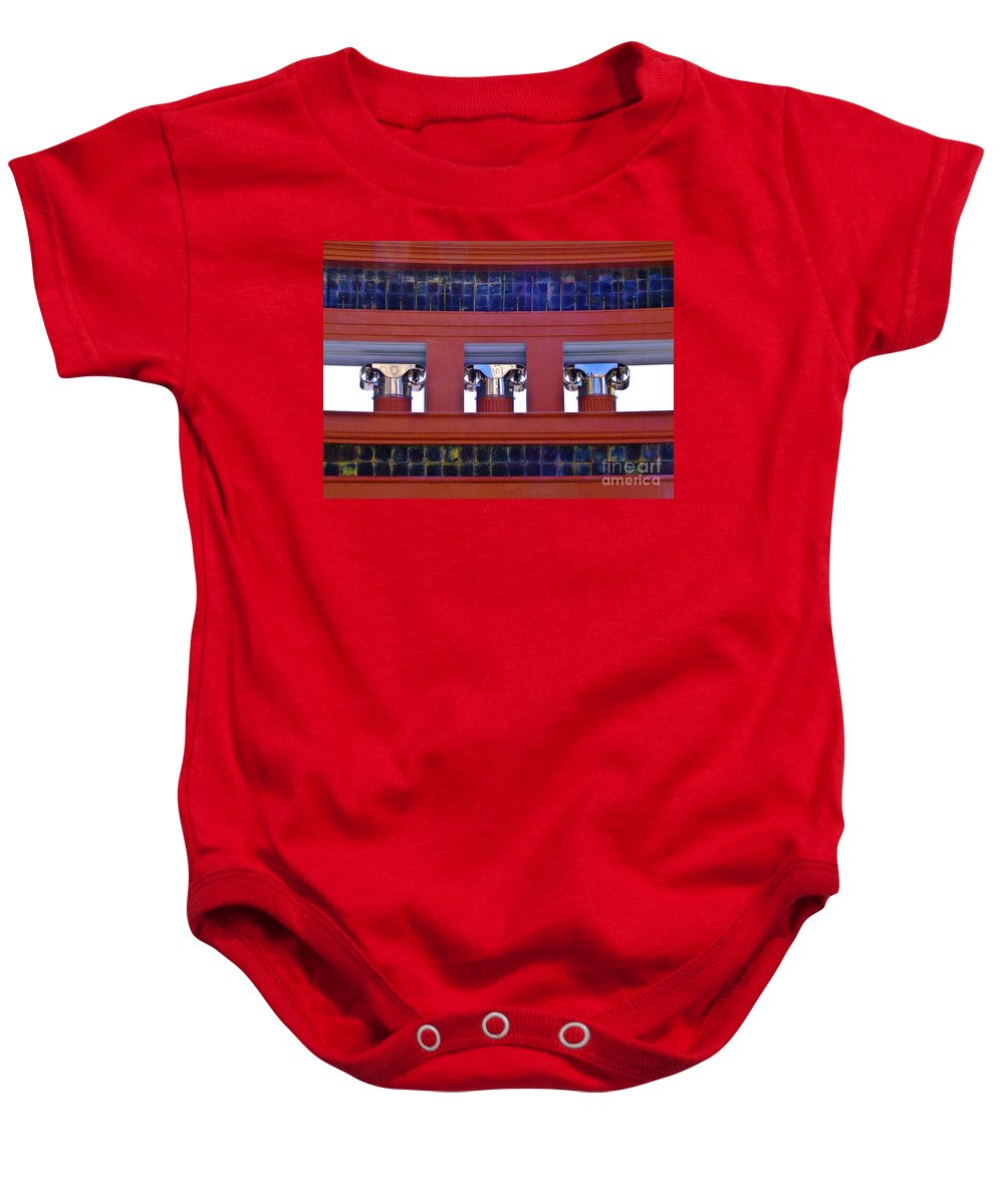 Architecture Baby Onesie featuring the photograph Threereflective Columns by Frances Hattier