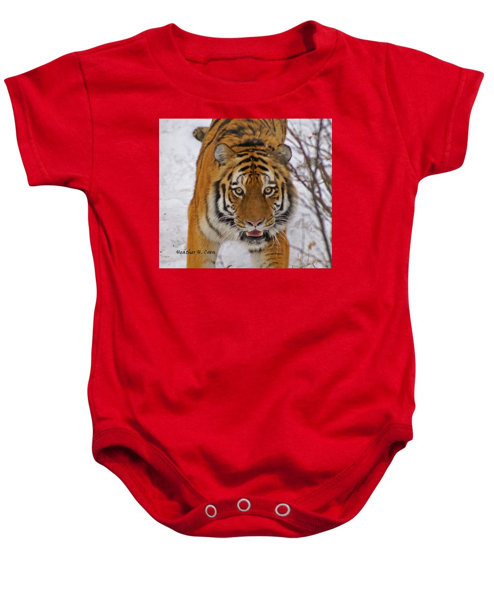 Tiger Baby Onesie featuring the photograph Tiger by Heather Coen