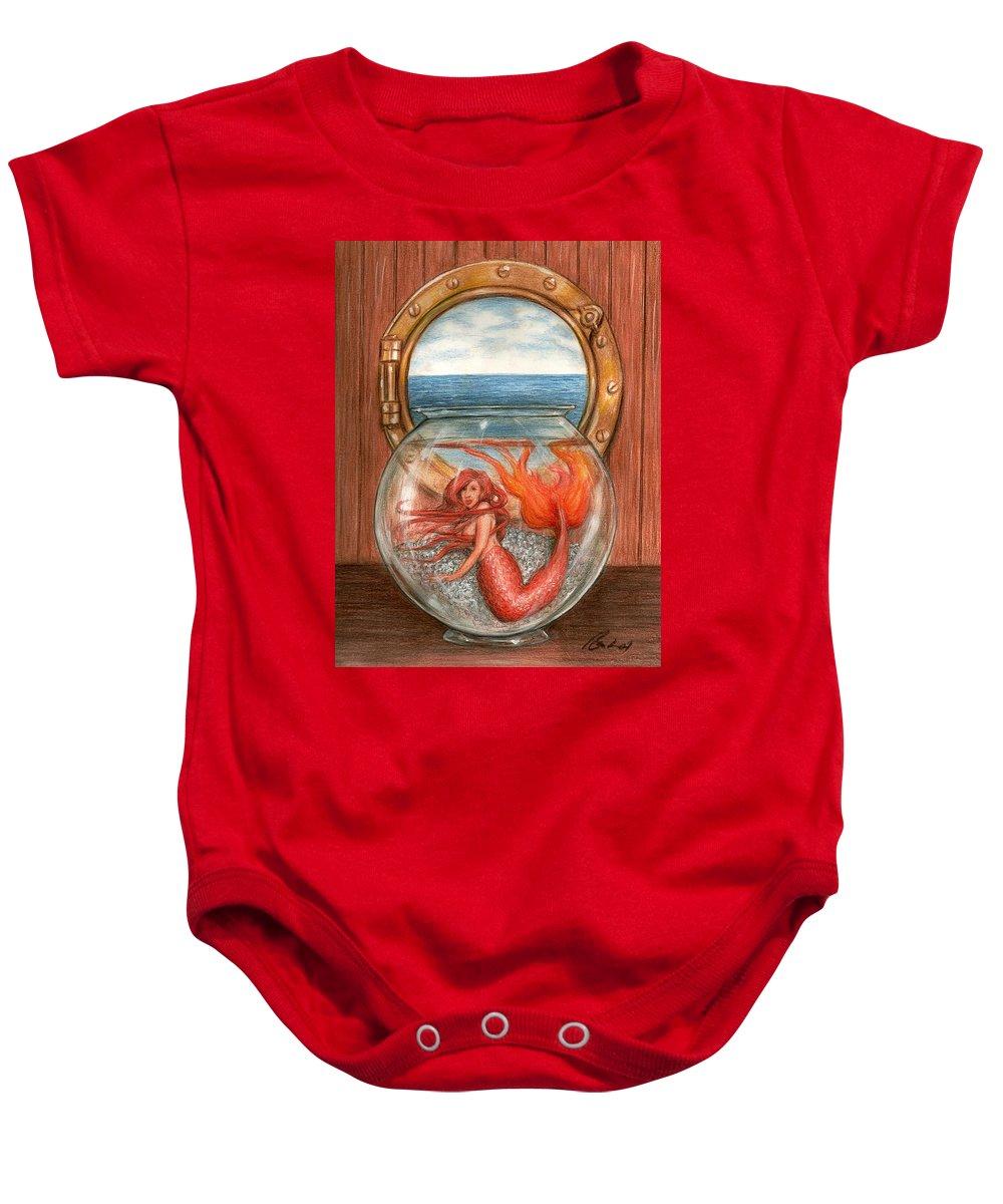 Mermaid Art Bruce Lennon Baby Onesie featuring the painting Tiny Mermaid by Bruce Lennon