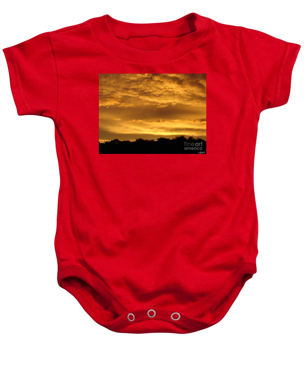 Sunset Baby Onesie featuring the photograph Toffee Sunset 3 by Carol Lynch