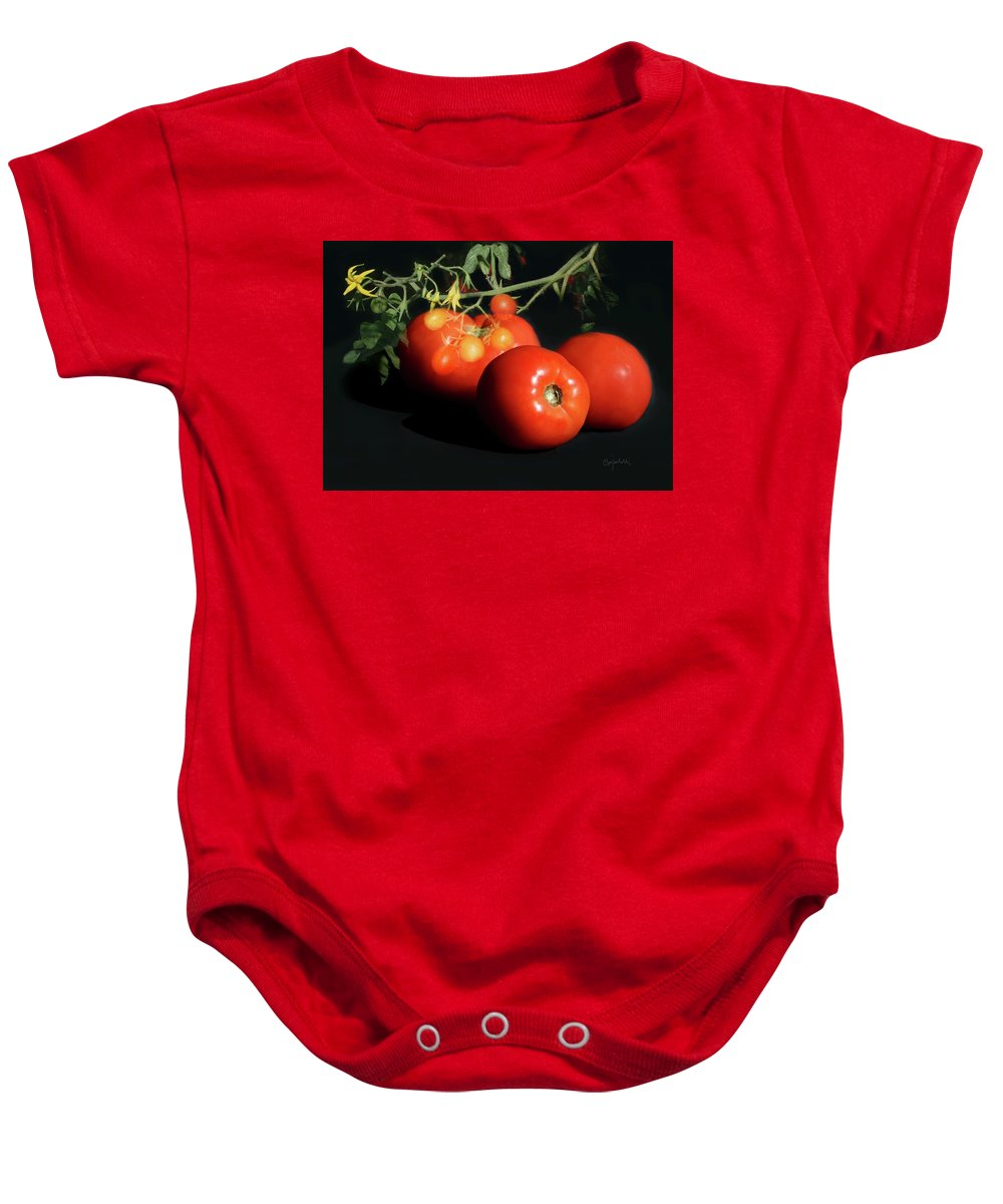 Red Tomatoes Baby Onesie featuring the photograph Tomatoes by Clare Iacobelli