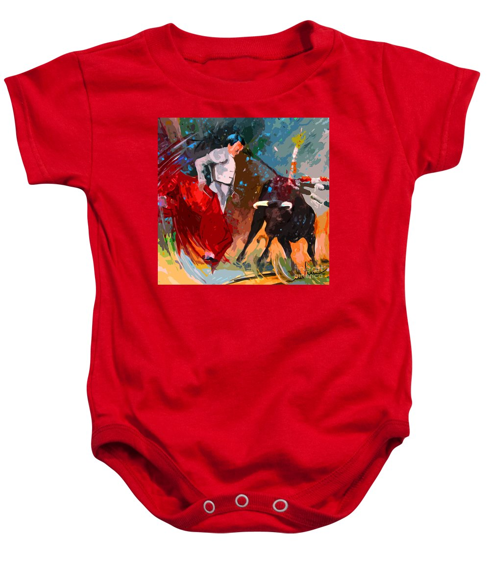 Bullfight Baby Onesie featuring the painting Toroscape 05 by Miki De Goodaboom