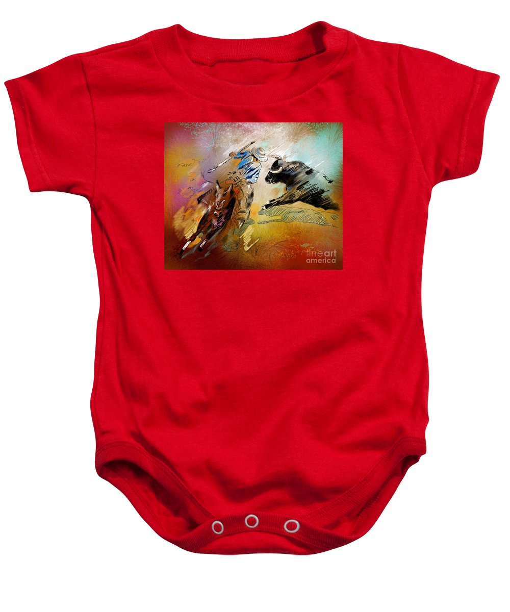 Bullfight Baby Onesie featuring the painting Toroscape 42 by Miki De Goodaboom