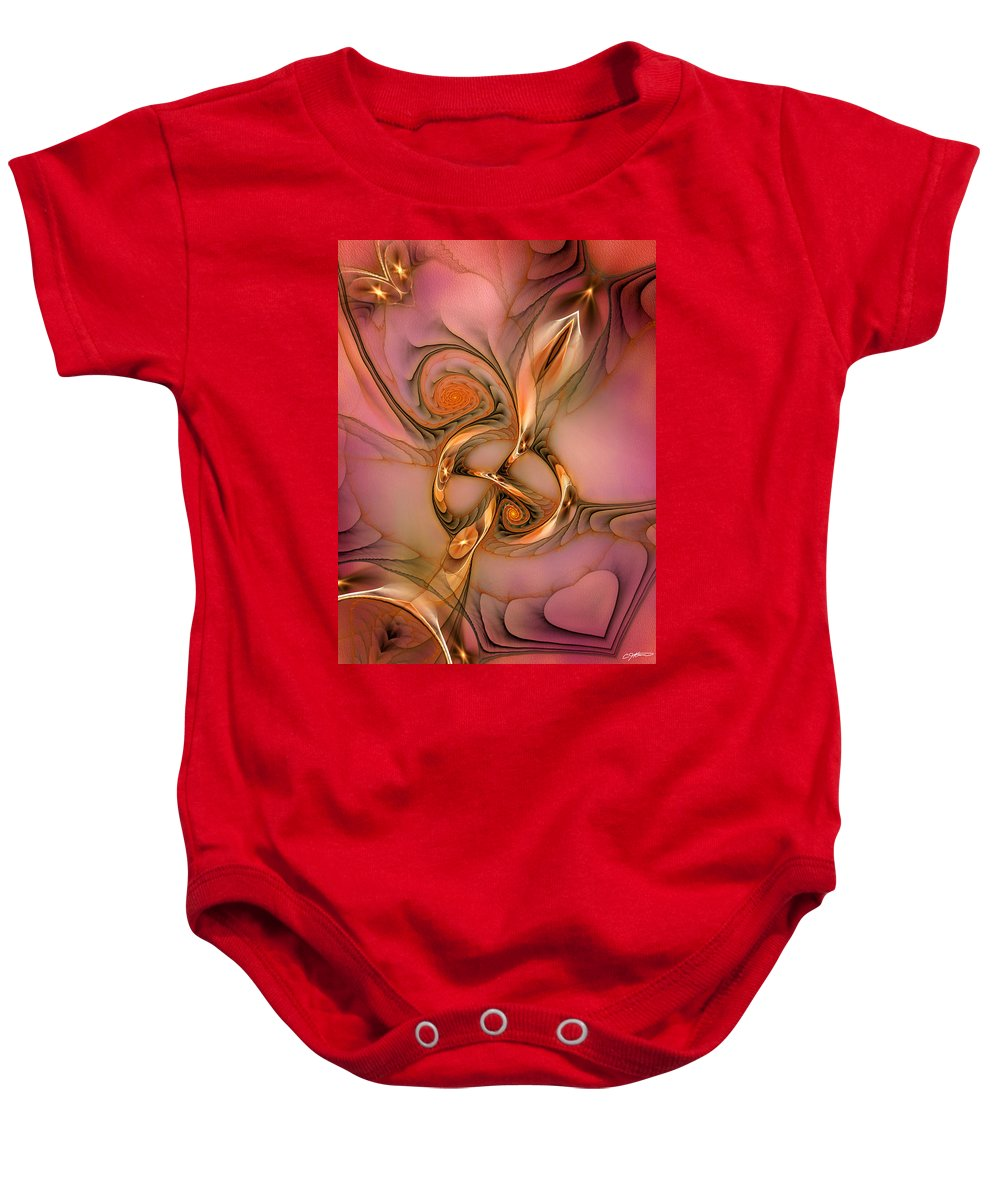 Abstract Baby Onesie featuring the digital art Transferring Affections by Casey Kotas