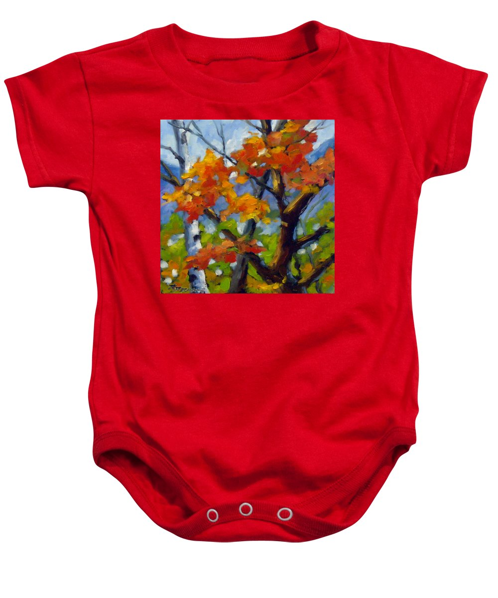 Art For Sale Baby Onesie featuring the painting Tree Tops by Richard T Pranke