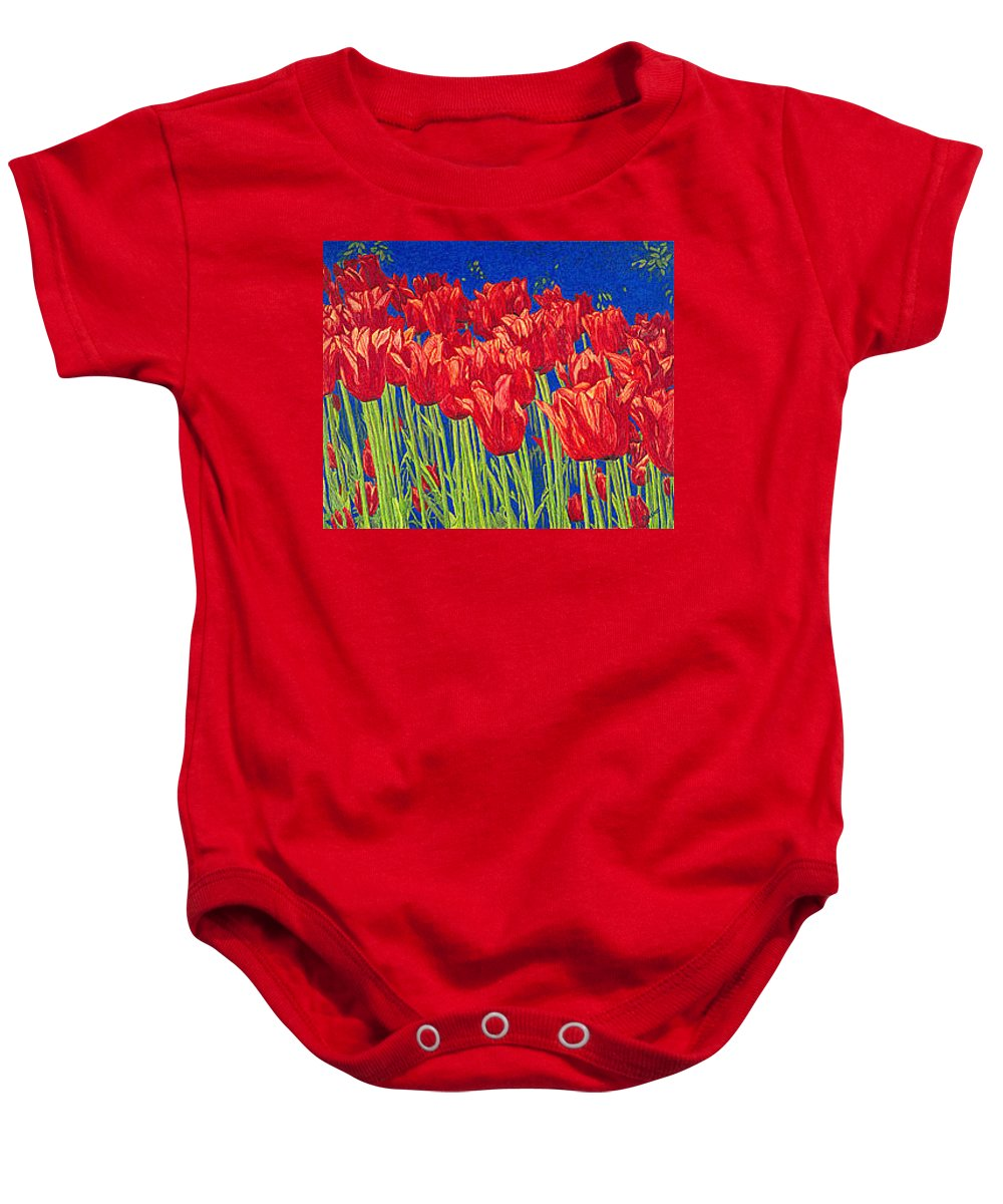 Tulips Baby Onesie featuring the drawing Tulips Tulip Flowers Fine Art Print Giclee High Quality Exceptional Color Garden Nature Botanical by Baslee Troutman