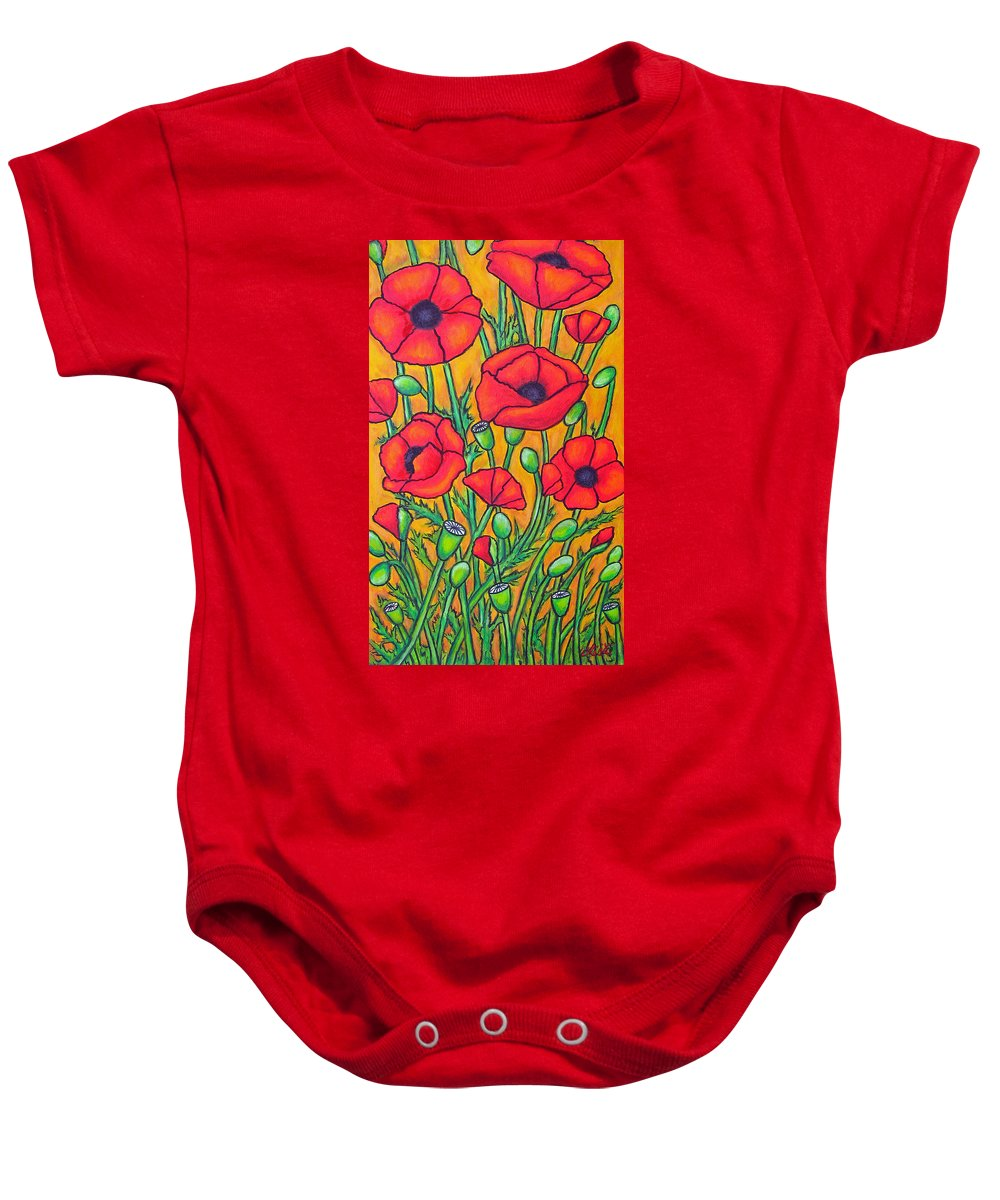 Poppies Baby Onesie featuring the painting Tuscan Poppies - Crop 2 by Lisa Lorenz
