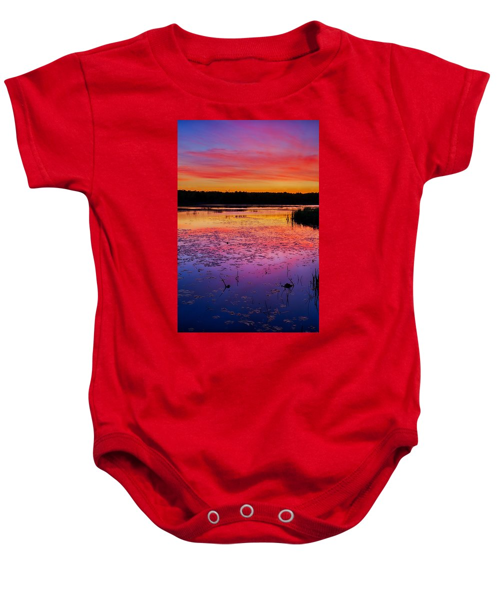 Twilight Baby Onesie featuring the photograph Twilight Afterglow #1 by Irwin Barrett