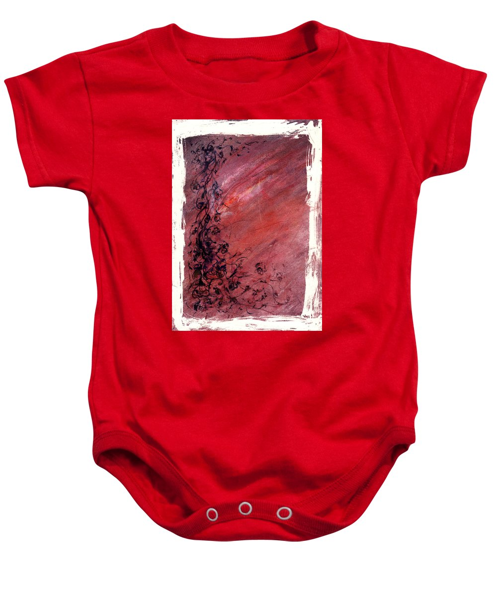 Floral Baby Onesie featuring the painting Twilight Rose by Rachel Christine Nowicki